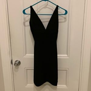 Herve Leger V Neck Black Dress Size XS